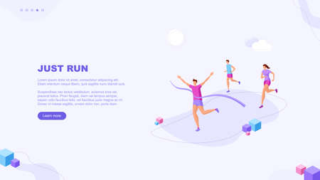Trendy flat illustration. Just run page concept. Victory. Goal achievment. Challenge. Cup reward. Prize. Marathon. Template for your design works. Vector graphics. Ilustrace