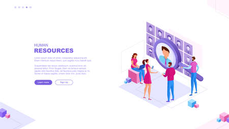 Trendy flat illustration. HR management page concept. Businessmen are looking for an employee. Open vacancy. Discussion of the applicant. Interview. Human resources. Template for your design works.