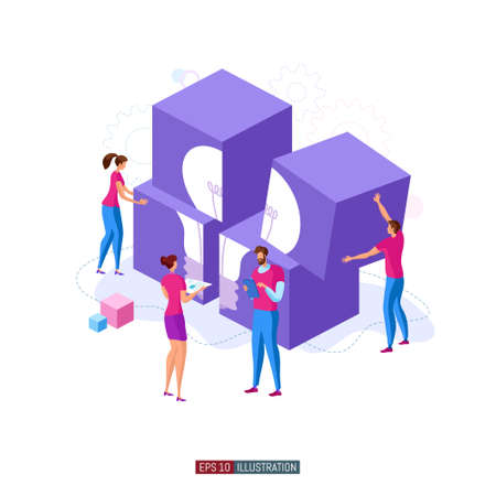Trendy flat illustration. Cooperation of people who implement the joint idea. Illustration of the idea birth process. Template for your design works. Vector graphics.