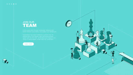 Trendy flat illustration. Join our team page concept. People work. Business strategy. Teamwork and competition. Chess game. Chess pieces. Template for your design works. Vector graphics.