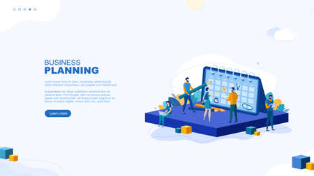 Trendy flat illustration. Business planning page concept. People make a plan. Planning. Business strategy. Organization. Cooperation. Teamwork. Template for your design works. Vector graphics.