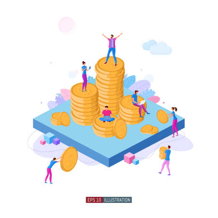 Trendy flat illustration. Concept of illustration of financial success. Teamwork. Competition. Business. Banking. Crowdfunding. Startup. Template for your design works. Vector graphics.