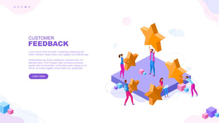 Trendy flat illustration. Customer reviews rating page concept. Online shopping. Feedback Customer support. Template for your design works. Vector graphics.