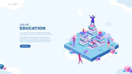Trendy flat illustration. Online education page concept. People read books and collaborate. Learning Education Knowledge. Ð¡ollege graduate. Template for your design works. Vector graphics. Ilustrace