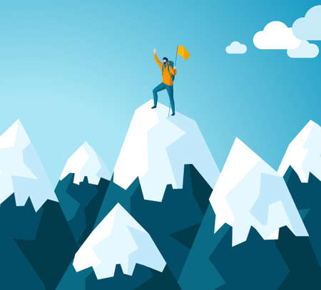 Trendy flat illustration. Winner man on mountain peak. Victory symbol. Competition. Goal achievement. Mountain landscape. Template for your design works. Vector graphics.