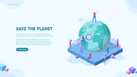 Trendy flat illustration. Save the planet page concept. Template for your design works. Vector graphics. Ilustrace