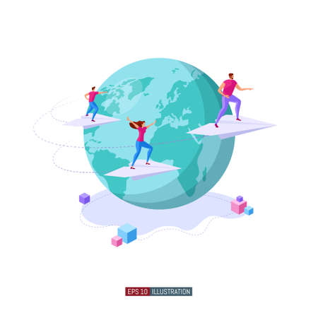 Isometric illustration. People fly on paper planes around the Earth. Teamwork concept. Globalization. International business project. Goal achievement. Template for your design works. Vector graphics.