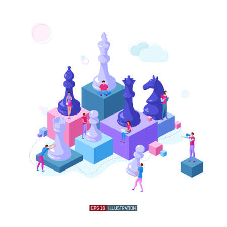 Trendy flat illustration. People work. Business strategy. Teamwork and competition. Chess game. Chess pieces. Template for your design works. Vector graphics. Ilustrace