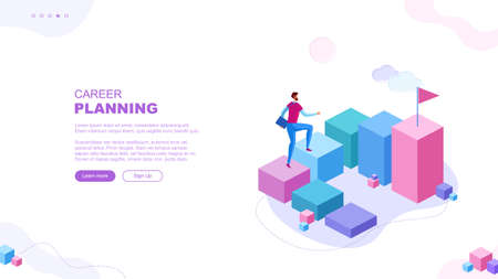 Trendy flat illustration. Career planning page concept. Career ladder. Motivation. Goal achievment. Way up. Template for your design works. Vector graphics.