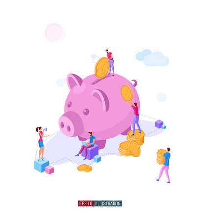 Trendy flat illustration. Banking service illustration concept. Deposit. Piggy bank. Bank team. Bank operations. Money. Coins. Template for your design works. Vector graphics.