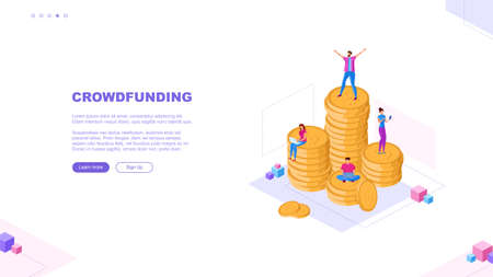 Trendy flat illustration. Crowdfunding page concept. Template for your design works. Vector graphics.
