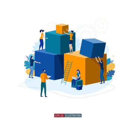 Trendy flat illustration. People make abstract composition of geometric shapes. Teamwork concept. Template for your design works. Vector graphics.