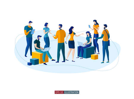 Trendy flat illustration. People are talking. Office workers planing business mechanism, analyze business strategy and exchange ideas. Template for your design works. Vector graphics.