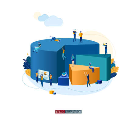 Trendy flat illustration. Teamwork metaphor concept. Office workers planing business mechanism, analyze business strategy and exchange ideas. Template for your design works. Vector graphics.