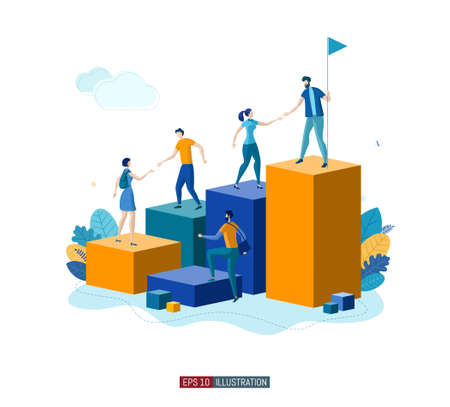 Trendy flat illustration. People help each other go up. Teamwork concept. Career planning. Motivation. Goal achievment. Way up. Business strategy. Template for your design works. Vector graphics.