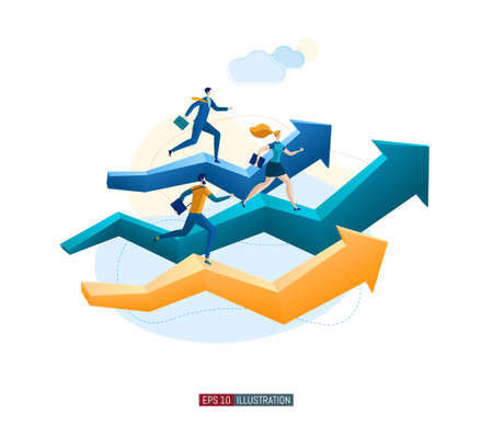 Trendy flat illustration. Businessmans runs forward on an arrows. Business or career growth concept. Motivation. Goal achievment. Way up. Template for your design works. Vector graphics.