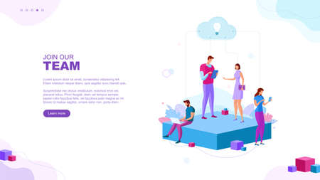 Trendy flat illustration. Join our team page concept. Teamwork. Office workers planing business mechanism, analyze strategy and exchange ideas. Template for your design works. Vector graphics.