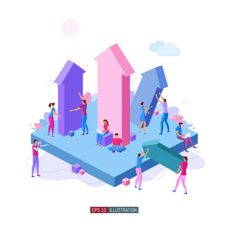 Trendy flat illustration. Teamwork metaphor concept. Business. Growth. Competition. Cooperation. Result. Victory. Template for your design works. Vector graphics.