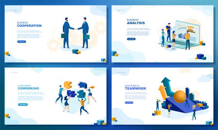 Trendy flat illustration. Set of web page concepts. Business cooperation. Business analysis. Open space coworkimg. Successful teamwork. Template for your design works. Vector graphics.