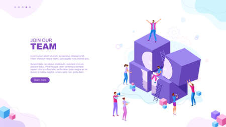 Trendy flat illustration. Join our team page concept. People make abstract composition of geometric shapes. Teamwork concept. Template for your design works. Vector graphics. Vector Illustration