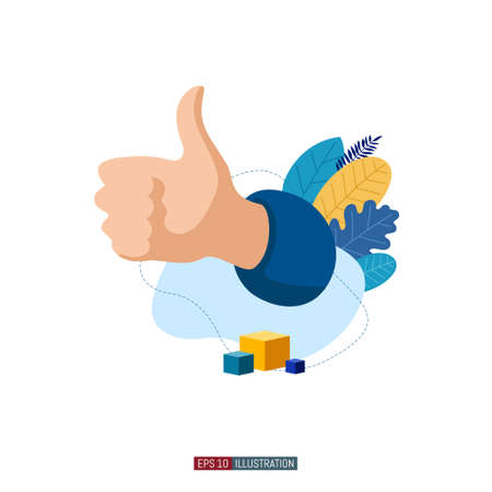 Trendy flat illustration. Thumbs up gesture. Like symbol. Social network. Chatting. Communication. Template for your design works. Vector graphics.