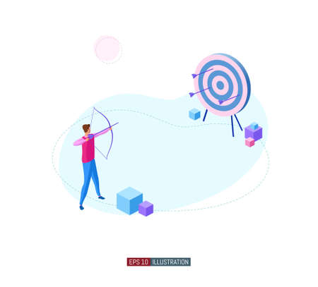 Trendy flat illustration. Archer aims at the target. The team is working on achieving the goal together. Template for your design works. Vector graphics.
