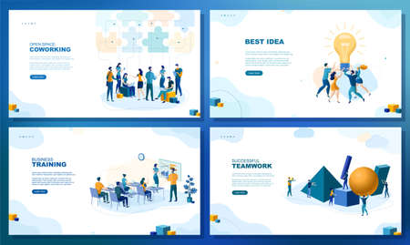 Trendy flat illustration. Set of web page concepts. Open space coworking. Best idea. Business training. Successful teamwork. Template for your design works. Vector graphics.