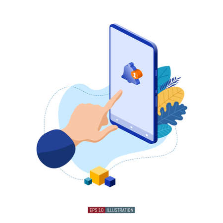 Trendy flat illustration. Hand and smartphone with message symbol on the screen. Social network. Chatting. Communication. Template for your design works. Vector graphics. Çizim