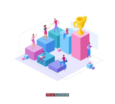 Trendy flat illustration. Career ladder. Motivation. Goal achievment. Way up. Golden cup. Template for your design works. Vector graphics.