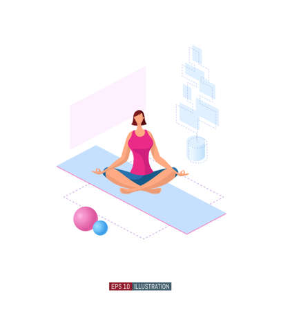 Trendy flat illustration. Girl doing yoga. Activity. Fitness. Yoga poses. Life style. Template for your design works. Vector graphics.