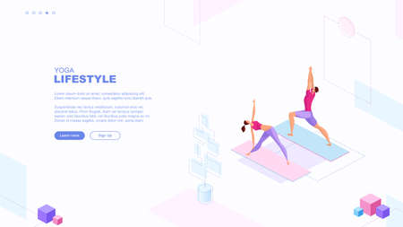 Trendy flat illustration. Yoga Lifestyle page concept. People doing yoga. Activity. Fitness. Template for your design works. Vector graphics.