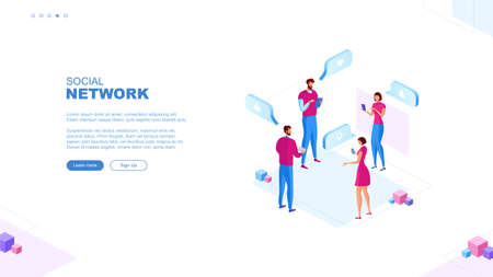 Trendy flat illustration. Social network page concept. Social media. Communications. Chatting. Template for your design works. Vector graphics.