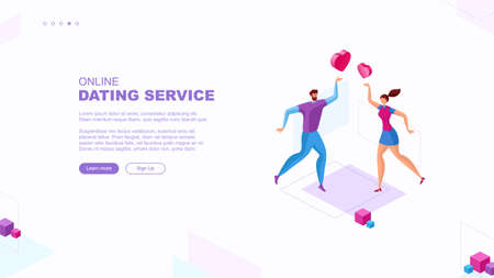 Trendy flat illustration. Online dating sevice page concept. People looking for a couple. Social media. Virtual relationship. People communications. Template for your design works. Vector graphics.