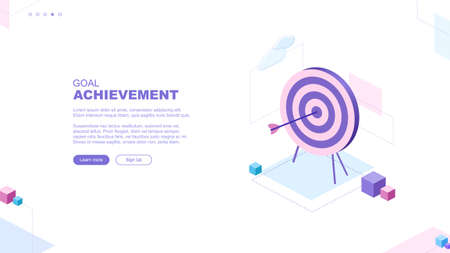 Trendy flat illustration. Goal achievement page concept. Archery target. Working on achieving the goal mataphor. Template for your design works. Vector graphics.