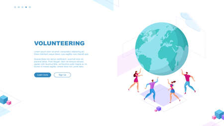 Trendy flat illustration. Volunteering page concept. Save planet. Teamwork metaphor concept. Globalization. Learning. Education. Knowledge. Training. Template for your design works. Vector graphics.