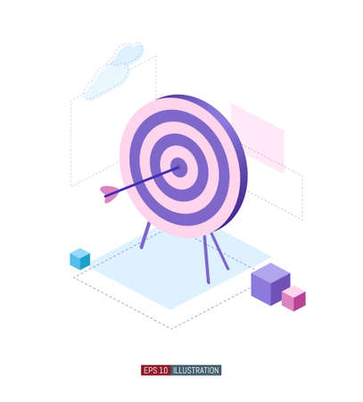 Trendy flat illustration. Archery target. Working on achieving the goal mataphor. Template for your design works. Vector graphics.