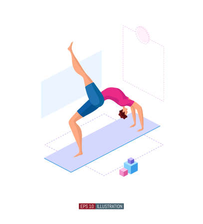 Trendy flat illustration. Man doing yoga. Activity. Fitness. Yoga poses. Life style. Template for your design works. Vector graphics.
