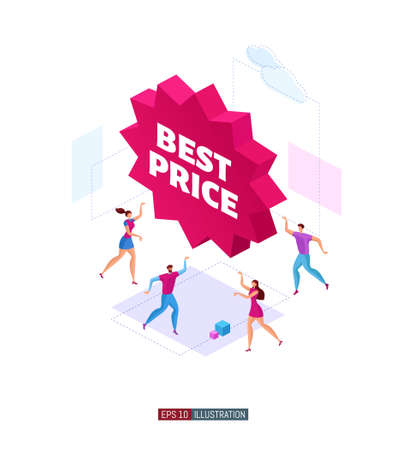 Trendy flat illustration. Customers around product promotion banner. Best price. Template for your design works. Vector illustration.
