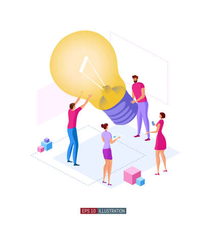 Trendy flat illustration. Teamwork metaphor concept. Cooperation of people who implement the joint idea. Business growth. Template for your design works. Vector graphics.
