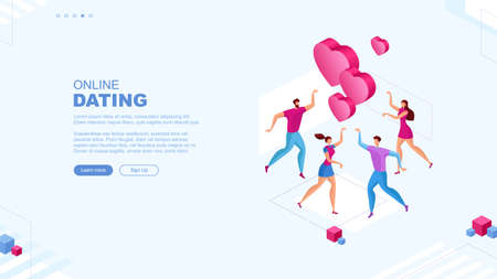 Trendy flat illustration. Online dating service page concept. People looking for a couple. Social media. Virtual relationship. People communications. Template for your design works. Vector graphics. Illustration