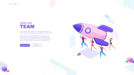 Trendy flat illustration. Join our team page concept. Cooperation of people who implement the joint idea. Rocket launch preparation. Startup business. Template for your design works. Vector graphics.