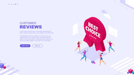 Trendy flat illustration. Customer reviews rating page concept. Online shopping. Feedback. Template for your design works. Vector graphics.