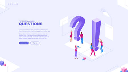 Trendy flat illustration. Frequently asked questions page concept. FAQ Question mark. Template for your design works. Vector graphics.