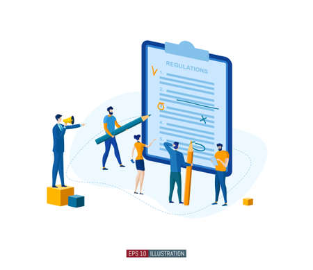 Trendy flat illustration. Teamwork concept. People compose and edit regulations. Planning. Business strategy. Organization. Cooperation. Template for your design works. Vector graphics.