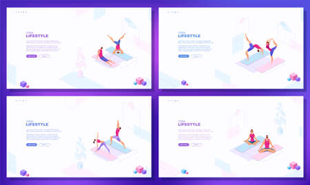 Trendy flat illustration. Set of web page concepts. Yoga Lifestyle. Man and woman doing yoga. Activity Fitness Template for your design works. Vector graphics.