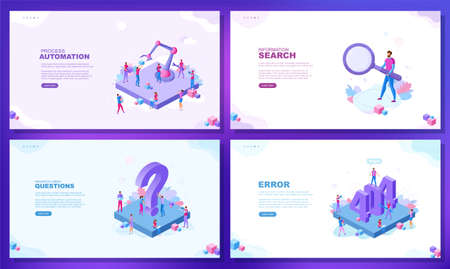 Trendy flat illustration. Set of web page concepts. 404 error page. Information search. Process automation. Frequently asked questions. Template for your design works. Vector graphics.