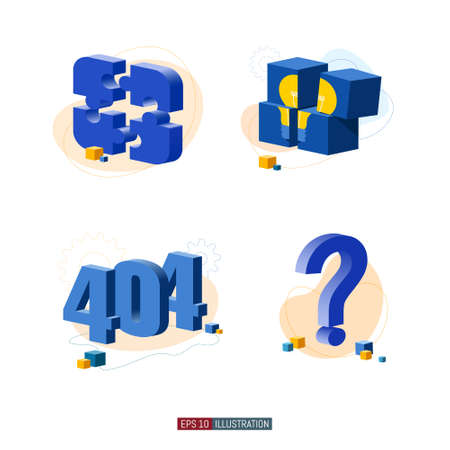 Trendy flat illustration set. Puzzle pieces. Idea. 404 error page. Frequently asked questions. Template for your design works. Vector graphics.