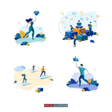 Trendy flat illustration set. Social network. Communications. Chatting. People fly on paper airplanes. Template for your design works. Vector graphics.