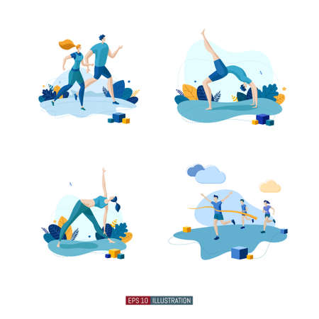Trendy flat illustration set. Running people. Yoga poses. Yoga Lifestyle. Man and woman doing yoga. Activity. Fitness. Marathon finish. Template for your design works. Vector graphics.