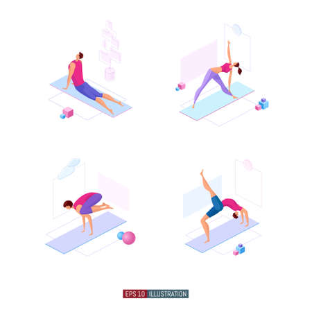Trendy flat illustration set. Yoga poses set. Yoga Lifestyle. Man and woman doing yoga. Activity. Fitness. Template for design works. Vector graphics.